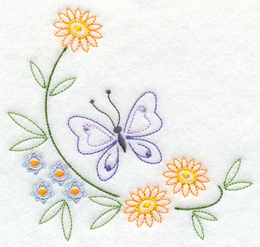 Butterfly And Flower Corner Vintage