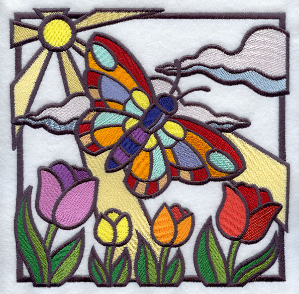 Machine embroidery designs at embroidery library for Butterfly stained glass craft
