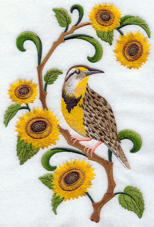 Kansas Western Meadowlark And Sunflower Medley
