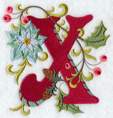 jacobean christmas letter x 5 inch