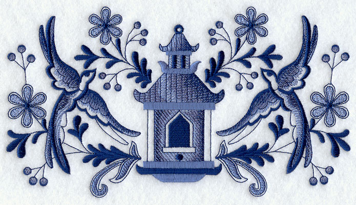 Blue Willow Feathers Birdhouse And Birds
