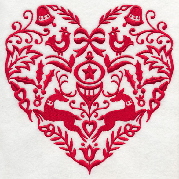 Christmas Heart.Machine Embroidery Designs At Embroidery Library