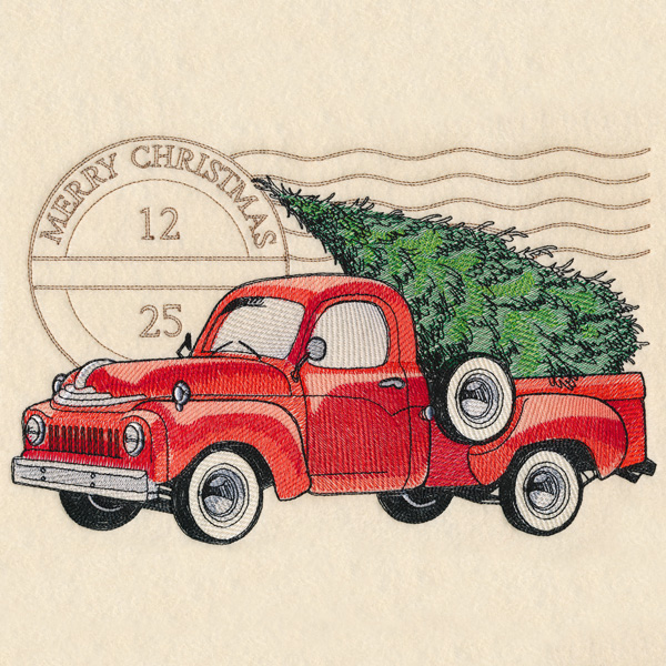 Vintage Red Truck Christmas Placemats.Machine Embroidery Designs At Embroidery Library