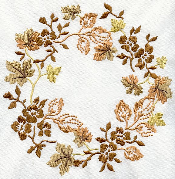 Autumn Leaves and Flowers Wreath