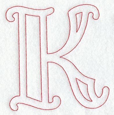 Majestic Letter K Redwork
