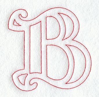 Majestic Letter B Redwork