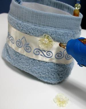 كيفية خياطة سله لادوات الحمام بالصور