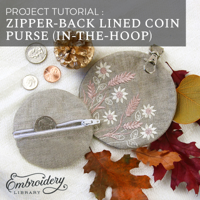 Zipper-Back Lined Coin Purse (In-the-Hoop)
