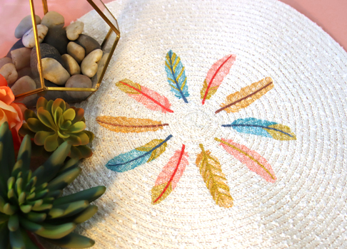 Embroidering on Straw Placemats