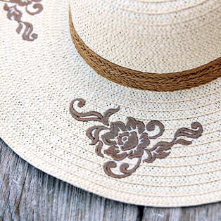 Embroidering on Straw Hats Tutorial