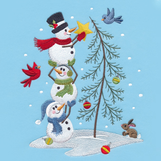Request of the Week - Country Snowmen Decorating Tree