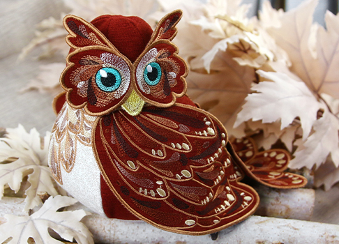 Owl Stuffie in 3D (In-the-Hoop)