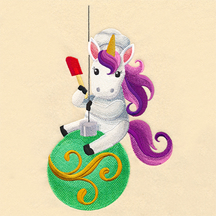 Request of the Week - Christmas Chef Unicorn on Ornament