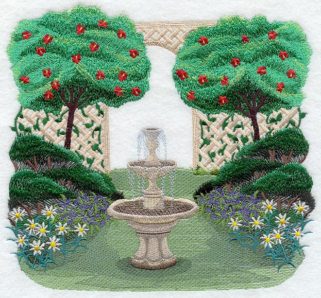 garden fountain scene - Embroidery Garden