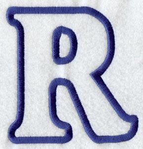 modern letter r applique 4 inch